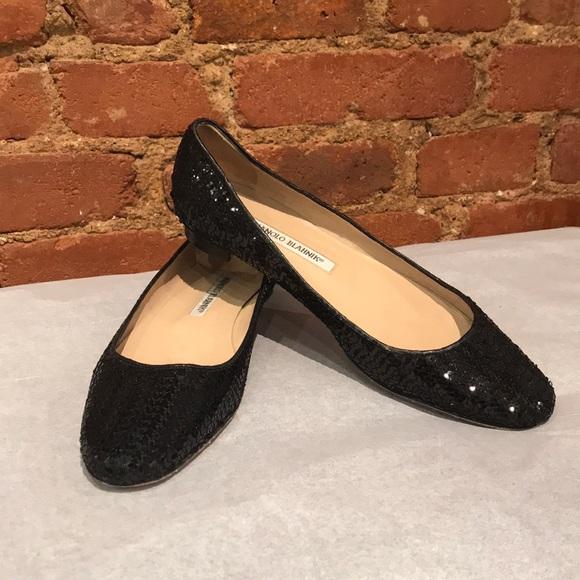 4eb17606ba MANOLO BLAHNIK black sequin ballet flats. M_5a6658863a112ed6fed94ab3